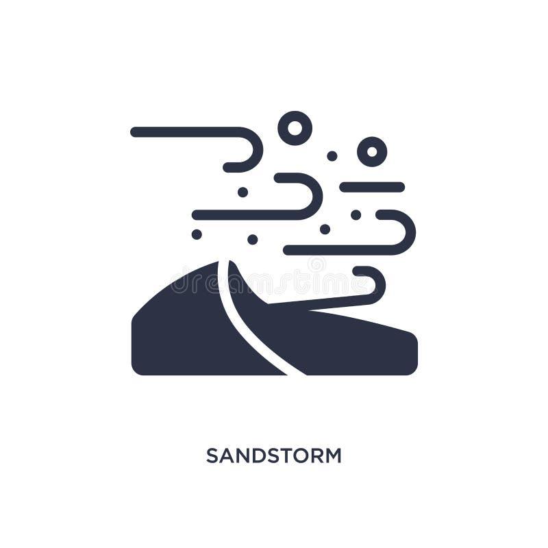 zandstormpictogram op witte achtergrond Eenvoudige elementenillustratie van woestijnconcept stock illustratie