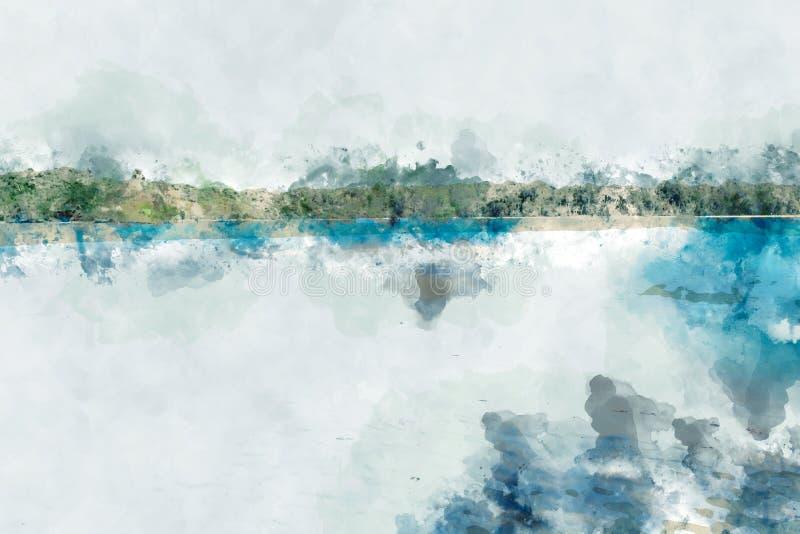 Zandstrand bij het eiland, blauw water in het overzees, het digitale waterverf schilderen royalty-vrije illustratie