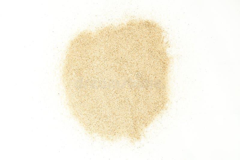 Zandvlekken op witte achtergrond worden geïsoleerd die Droog zand royalty-vrije stock afbeelding