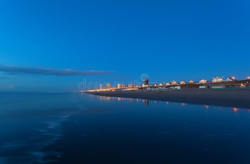 Zandvoort miasto północną dennego wybrzeża bu nocą fotografia royalty free