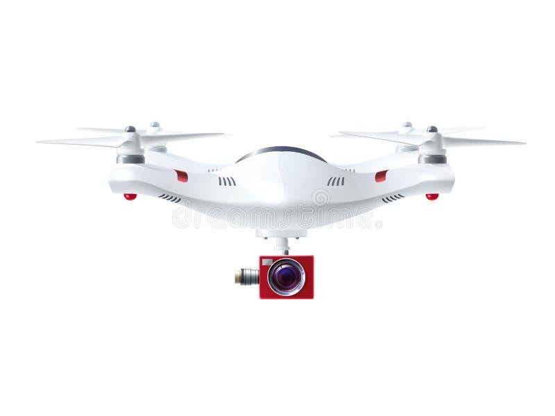 Zangão branco com câmera vermelha