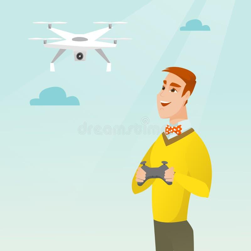 Zangão caucasiano novo do voo do homem ilustração stock