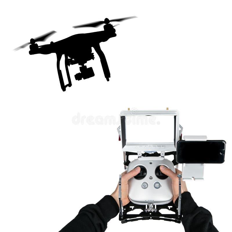 Zangão com voo da câmera 4K fotografia de stock royalty free
