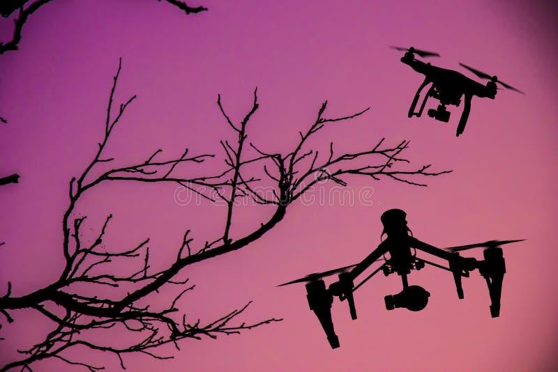 Zangão com voo da câmera 4K imagem de stock