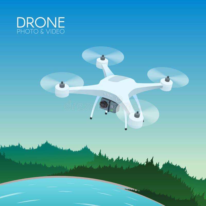 Zangão com voo de controle remoto sobre a paisagem da natureza Zangão aéreo com a câmera que toma a fotografia e o conceito do ví ilustração do vetor