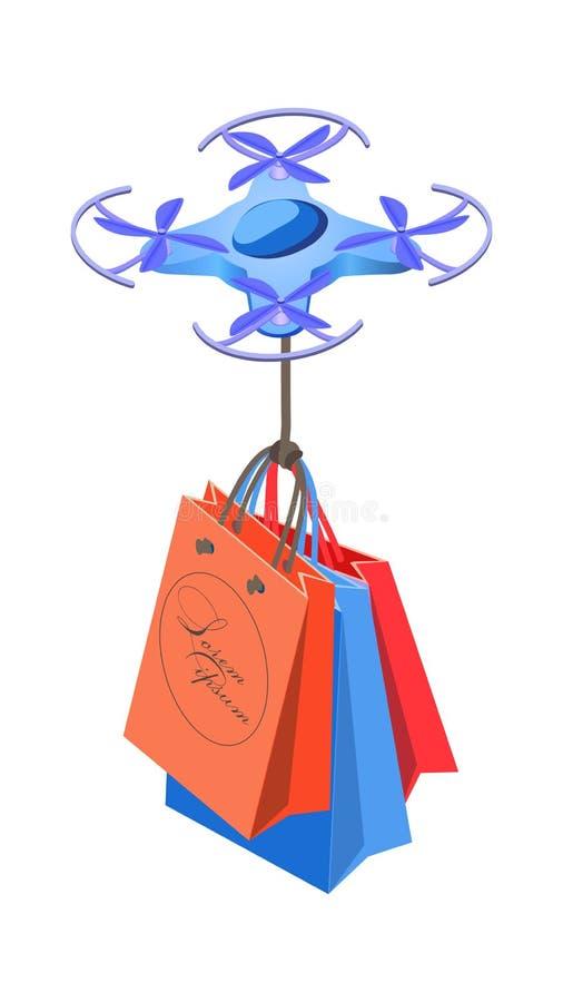 zangão 3d com ilustração isométrica dos sacos de compras ilustração royalty free