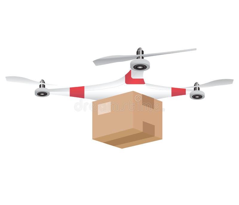 Zangão da entrega com o pacote isolado no fundo branco ilustração do vetor