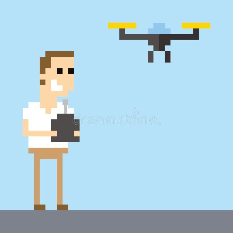 Zangão de Art Image Of Man Flying do pixel que usa o controlo a distância ilustração do vetor