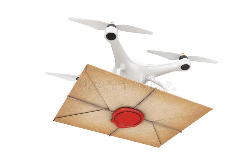 Zangão do ar que entrega o envelope velho da letra com selo vermelho da cera rendição 3d fotografia de stock royalty free