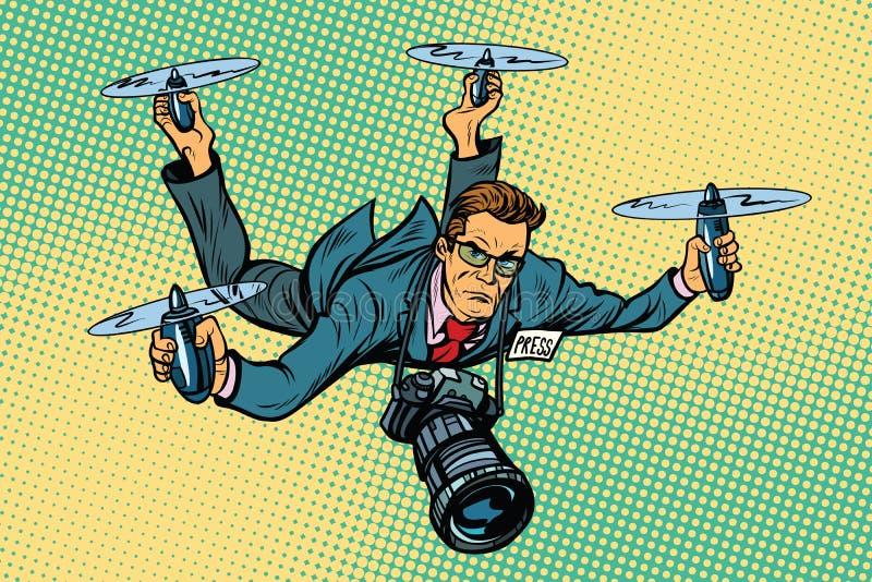 Zangão do quadcopter do journalista dos povos ilustração stock