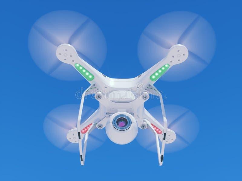 Zangão do voo com uma câmara de vídeo no céu ilustração royalty free