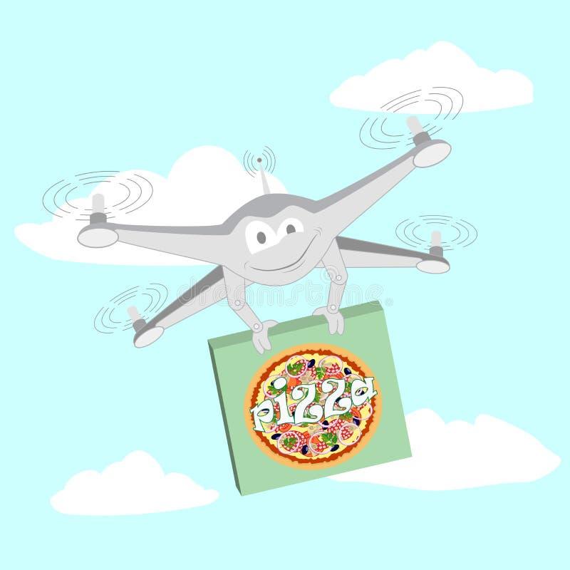 Zangão engraçado Pizza ilustração royalty free