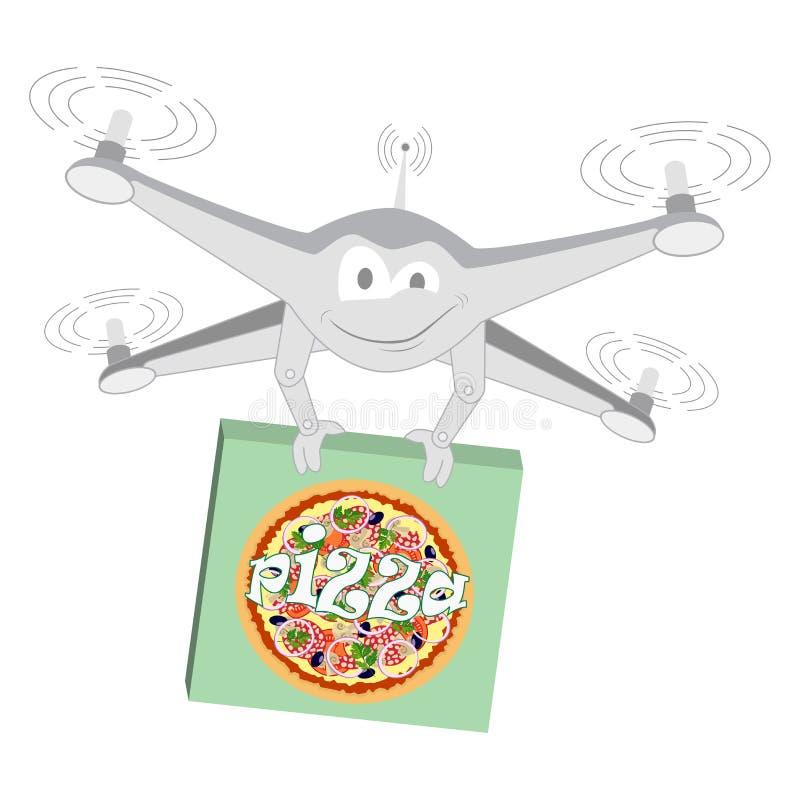 Zangão engraçado Pizza Isolado ilustração stock