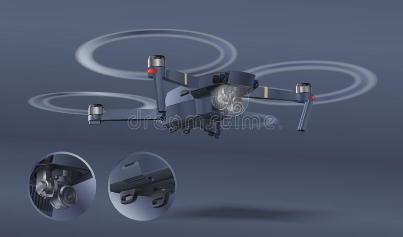 Zangão isolado no fundo branco Fotografia e vídeo criados Conceito do helicóptero do ar com câmera Zangão apoiado de tiro Reali