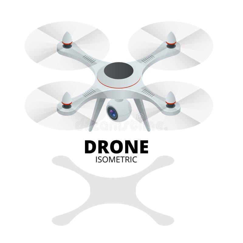 Zangão isométrico Zangão EPS Ilustração isométrica do quadrocopter 3d do zangão Zangão com ícone da câmera da ação Logotipo do za ilustração do vetor