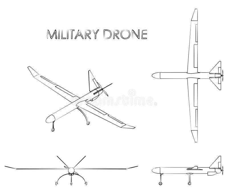 Zangão militar O esboço gosta de pinceladas ilustração do vetor