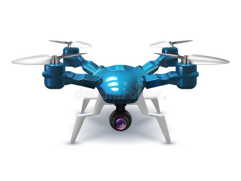 Zangão 2não pilotado realístico com câmera da gravação Helicóptero com ilustração de controle remoto do vetor 3d