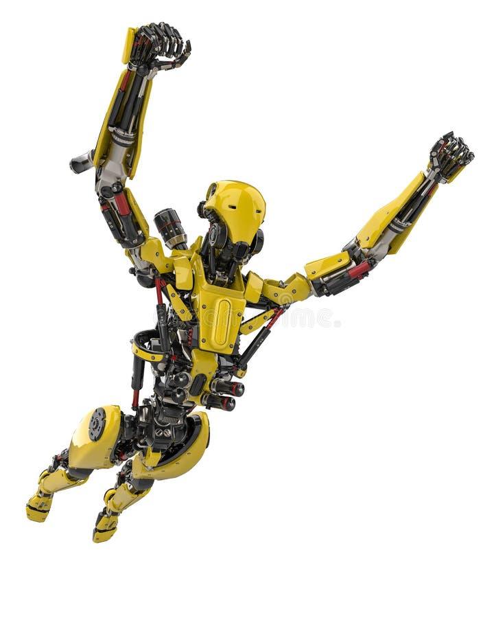 Zangão super do robô amarelo mega que voa afastado em um fundo branco