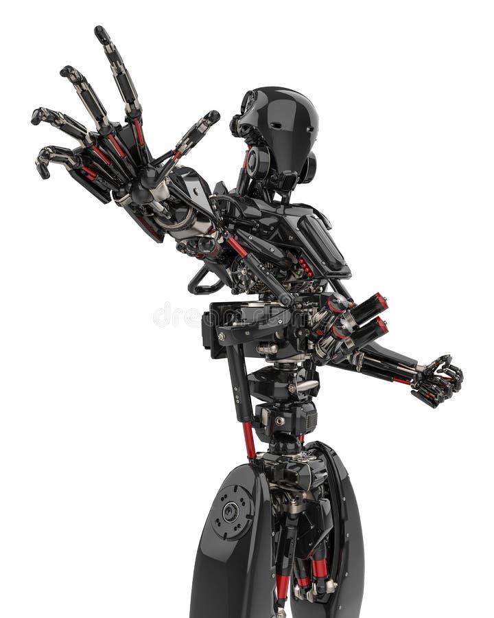 Zangão super do robô preto mega em um fundo branco ilustração royalty free