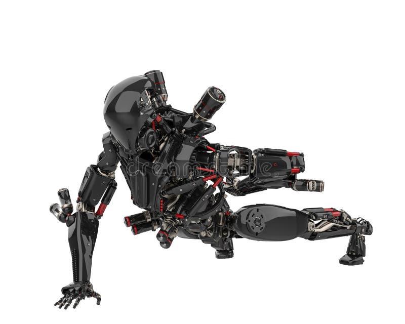 Zangão super do robô preto mega em um fundo branco ilustração do vetor