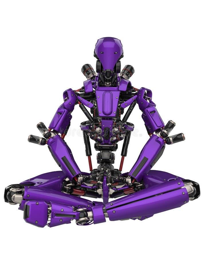 Zangão super do robô roxo mega em um fundo branco ilustração royalty free
