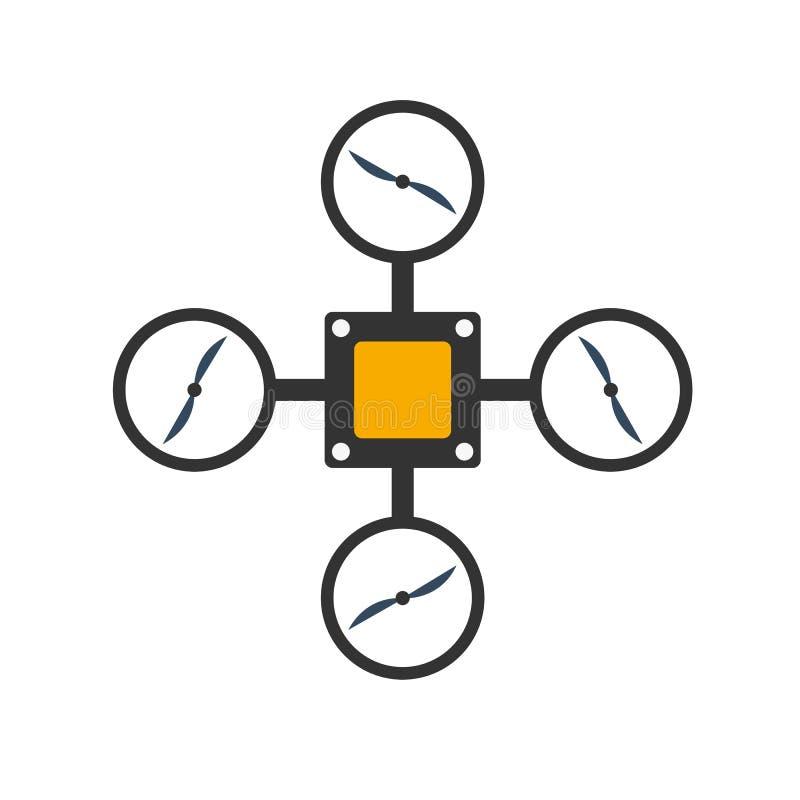 Zangões com câmera da ação Projeto liso Quadrocopter do zangão ilustração royalty free