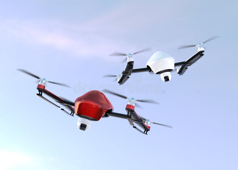 Zangões da segurança com voo da câmera no céu ilustração stock