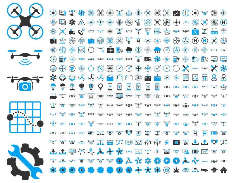 Zangões do ar e ícones das ferramentas do quadcopter ilustração do vetor