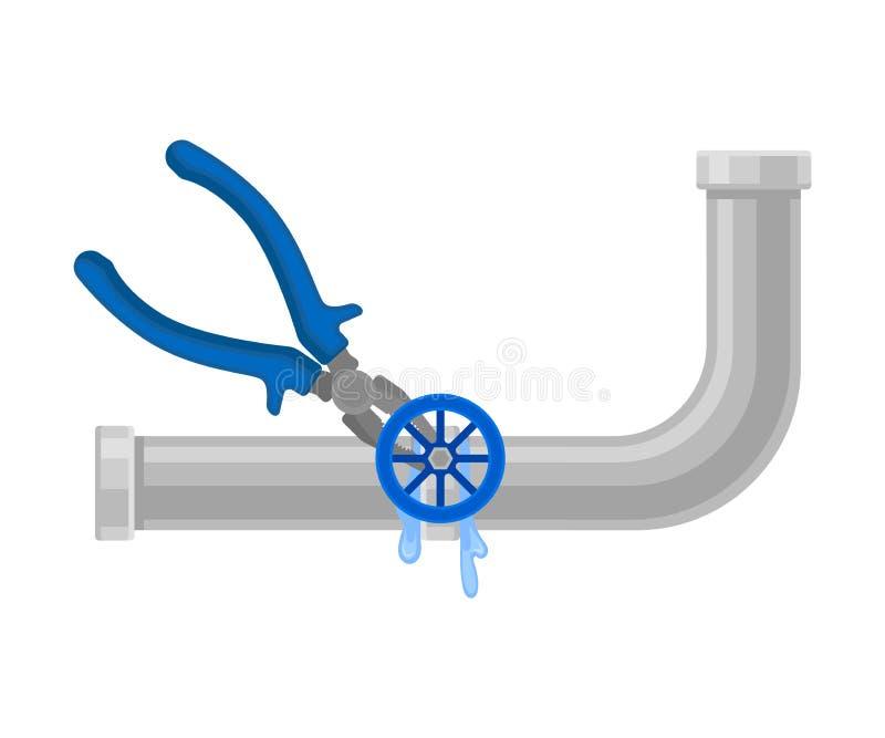 Zangen beseitigen Durchsickern im Rohr Vektorabbildung auf wei?em Hintergrund vektor abbildung