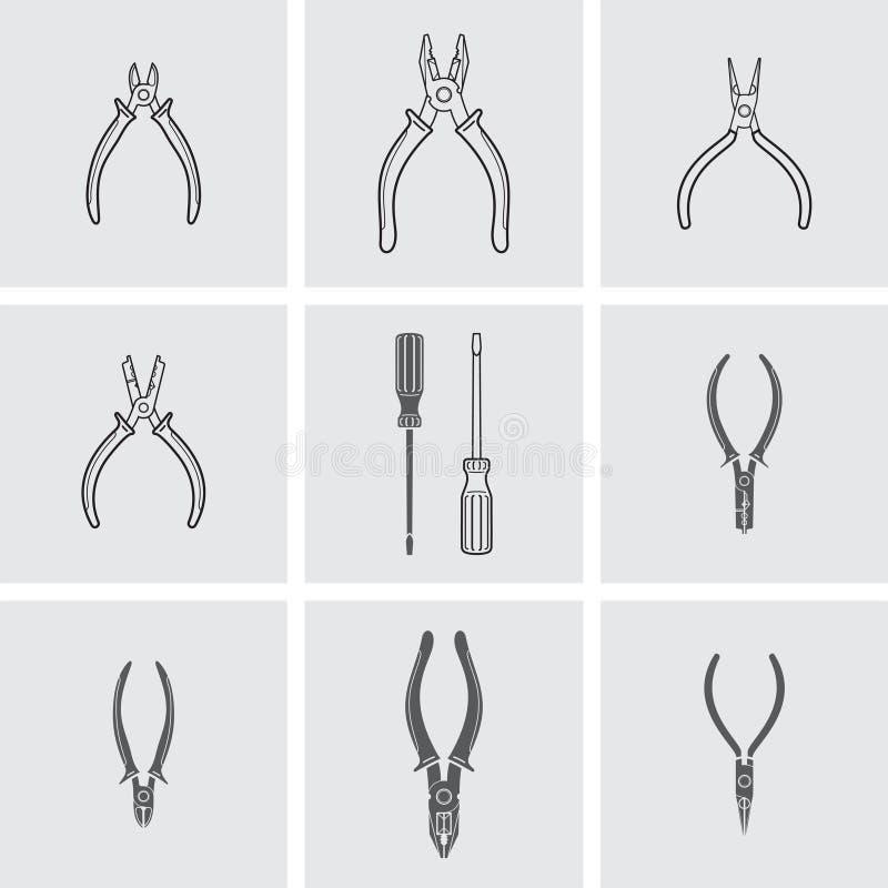 Zangen, Drahtschneider und Schraubenzieherikonen stock abbildung