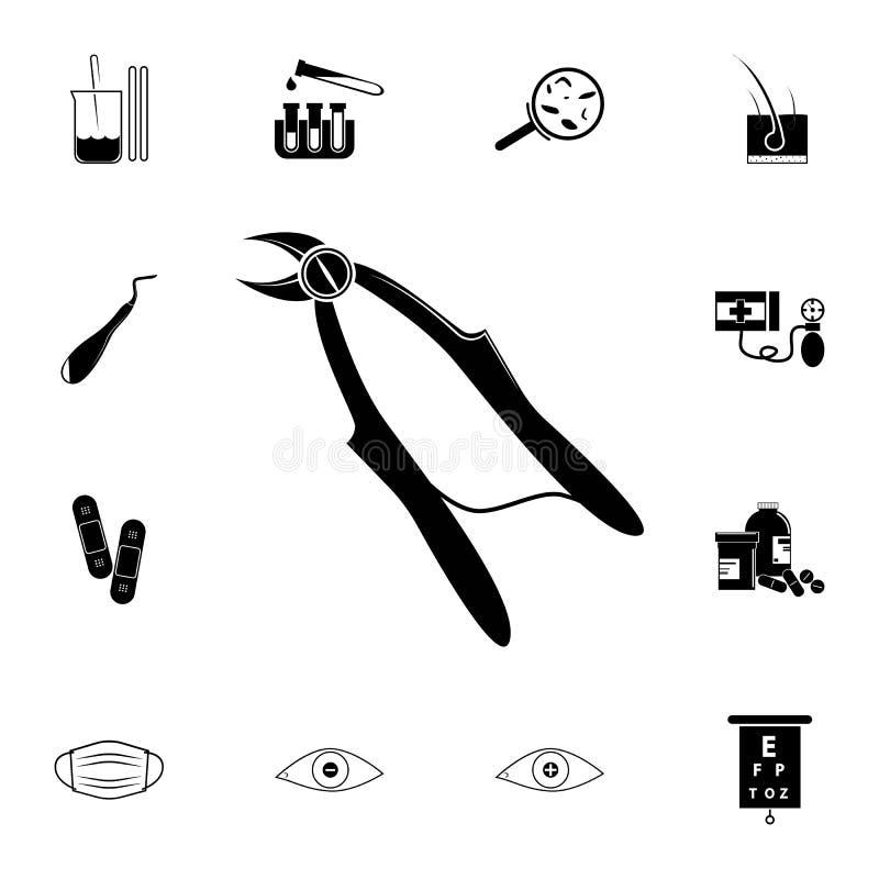Zangen für Zahnziehenikone Ausführlicher Satz Medizinikonen Erstklassiges Qualitätsgrafikdesignzeichen Eine der Sammlungsikonen stock abbildung