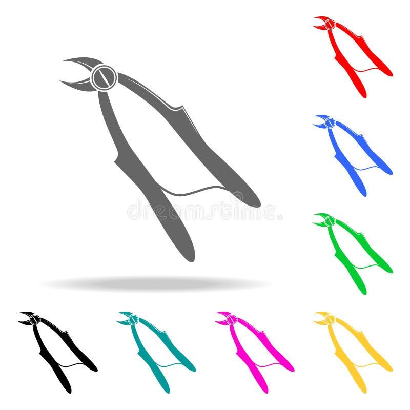 Zangen für Zahnziehenikone Elemente von multi farbigen Ikonen der Medizin und der Apotheke Erstklassige Qualitätsgrafikdesignikon lizenzfreie abbildung