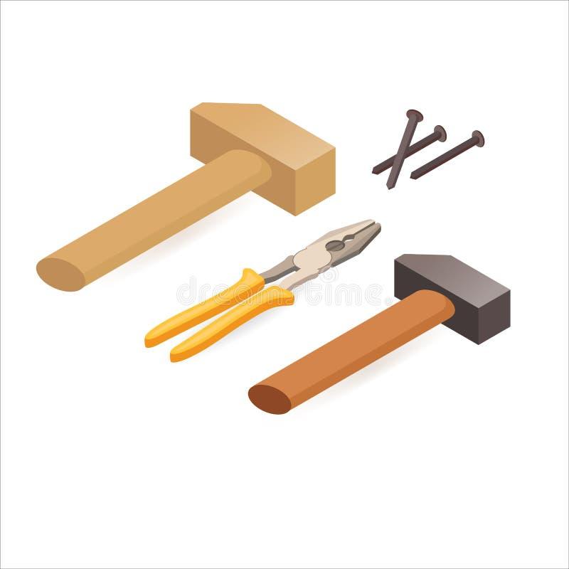 Zangen, Hammer, Schraubenzieher Isometrische Bauwerkzeuge vektor abbildung