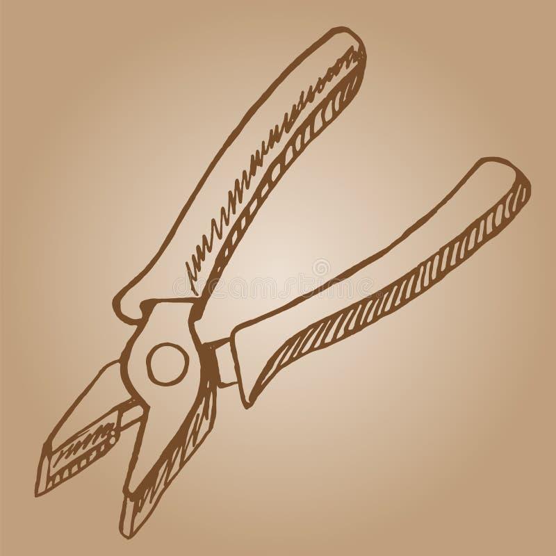 Zangen kritzeln gezeichneten Vektor der Artskizzen-Illustration Hand lizenzfreie abbildung