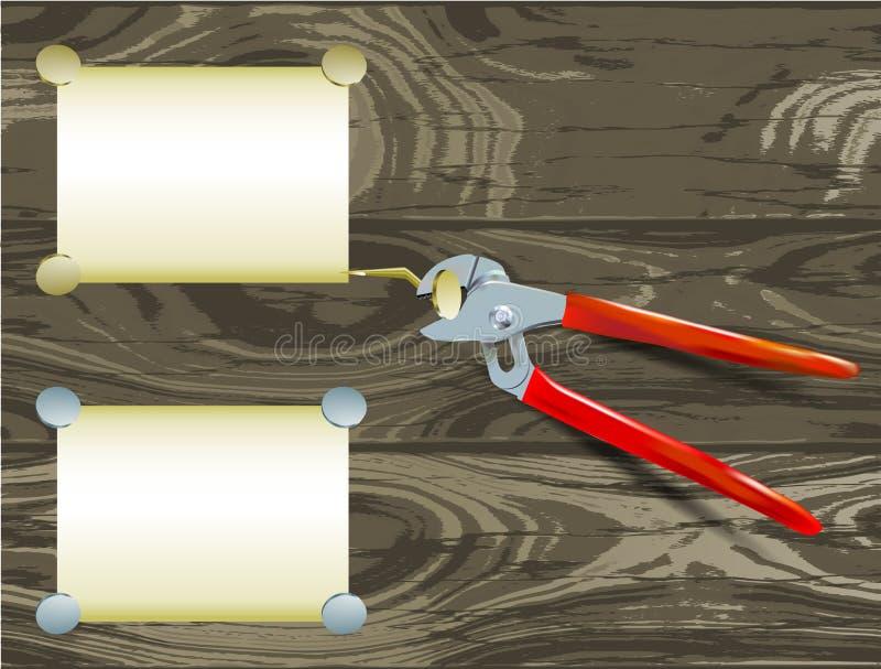 Zangen mit Papiernotizblöcken und Nägel auf einem hölzernen Hintergrund des Schmutzes lizenzfreie abbildung