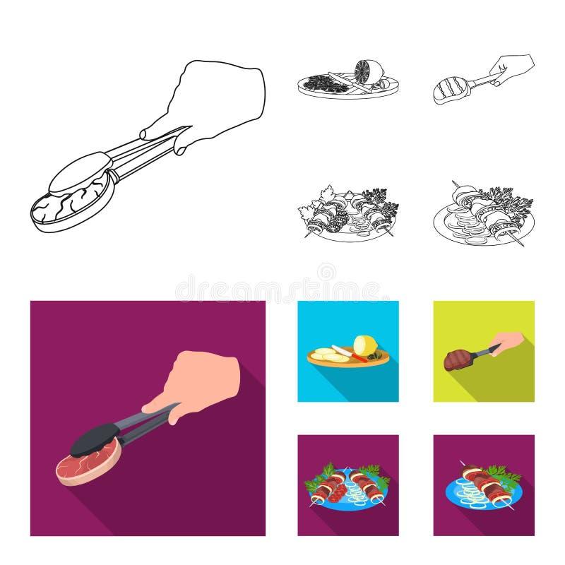 Zangen mit Steak, gebratenes Fleisch auf einer Schaufel, Zitrone und Oliven schneiden, Kebab auf einer Platte mit Gemüse Lebensmi vektor abbildung