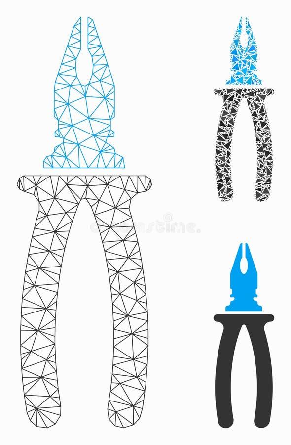 Zangen-Vektor-Maschen-2D Modell-und Dreieck-Mosaik-Ikone lizenzfreie abbildung