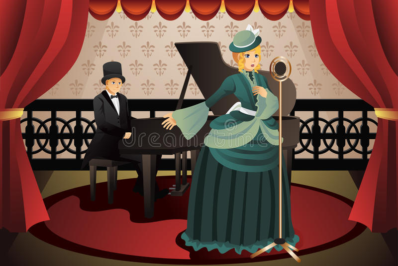 Zanger en Pianist royalty-vrije illustratie