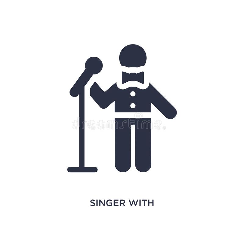 zanger met microfoonpictogram op witte achtergrond Eenvoudige elementenillustratie van gedragsconcept stock illustratie
