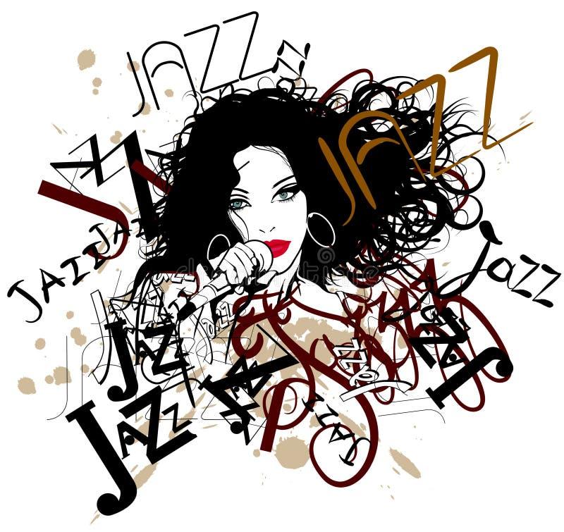 Zanger op een jazzachtergrond vector illustratie