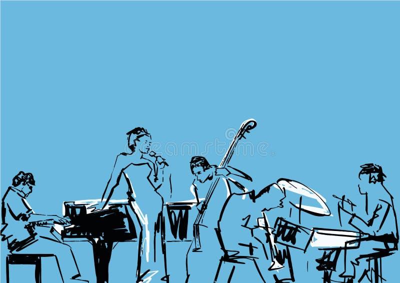 Zanger, pianist, slagwerker, contrabas en saxofoonspeler royalty-vrije illustratie