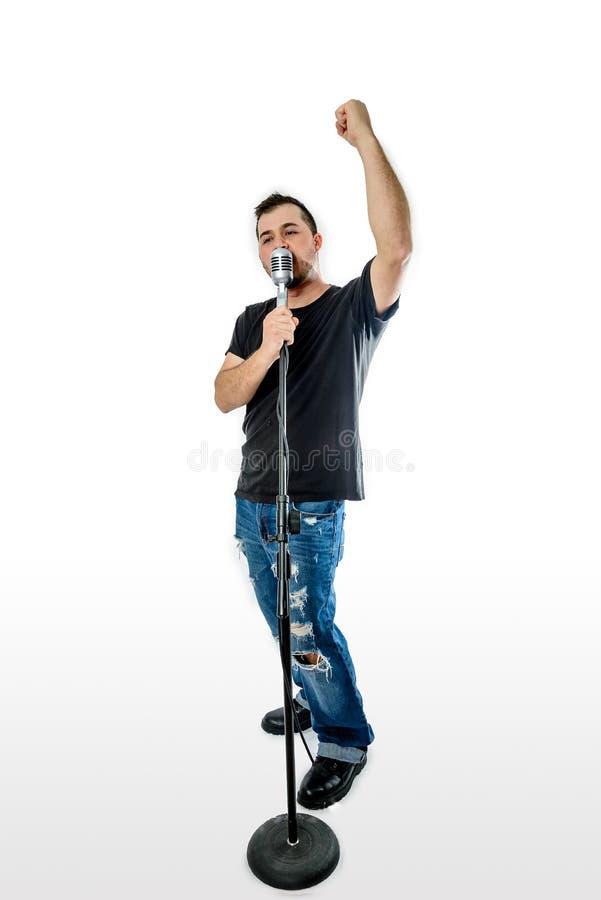 Zanger Vocalist op Witte vuist in de lucht royalty-vrije stock foto