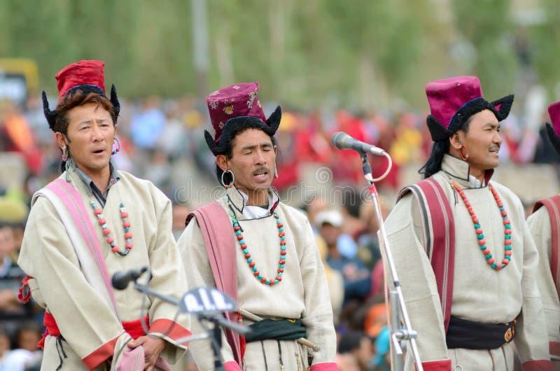 Zangers op Festival van Erfenis Ladakh stock foto