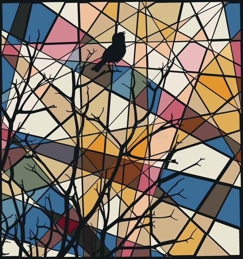 Zangvogelmozaïek vector illustratie