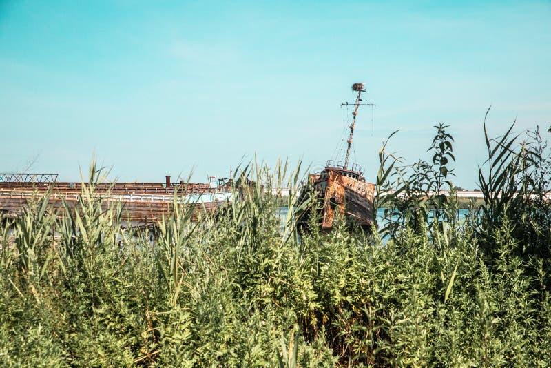 Zaniechana łódź w Staten Island Miasto Nowy Jork, obraz stock