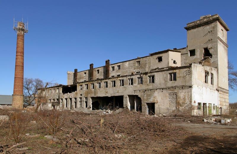 Zaniechana budynek mieszkalny przedsięwzięcia roślina z pami zdjęcia royalty free