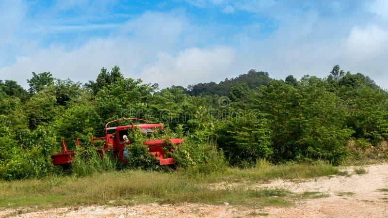 Zaniechana czerwonego wojska ciężarówka w porosłych krzakach fotografia stock