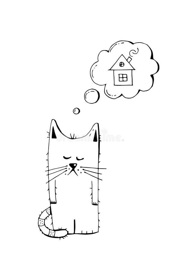 Zaniechana figlarka, adoptuje, zwierzęcy okrucieństwo, ręka rysująca ilustracja Smutna bezdomna figlarka patrzeje dla domu, wekto fotografia royalty free