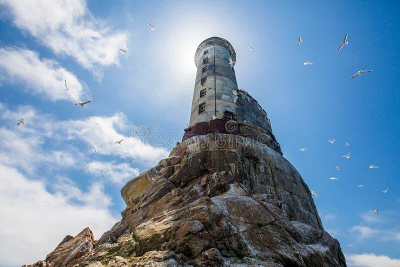 Zaniechana latarnia morska Aniva na Sakhalin wyspie zdjęcie royalty free