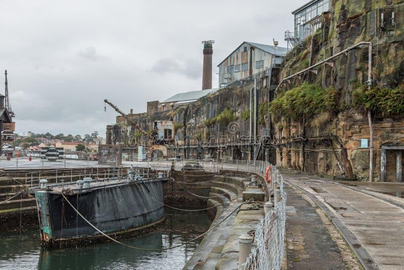 Zaniechani przemysłowi budynki, kakadu wyspa, Sydney, NSW obraz royalty free